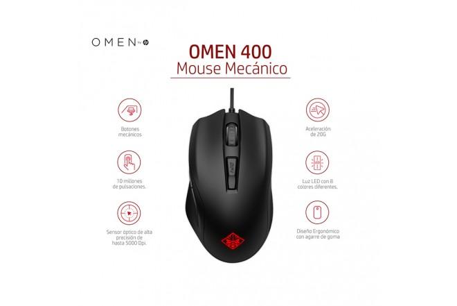 Mouse HP Alambrico Omen 400 Gaming Negro/Rojo 5