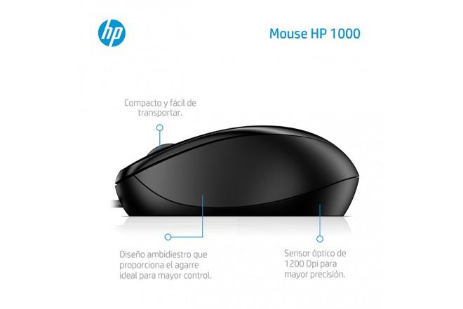 Mouse HP Alambrico Optico 1000 Negro 1