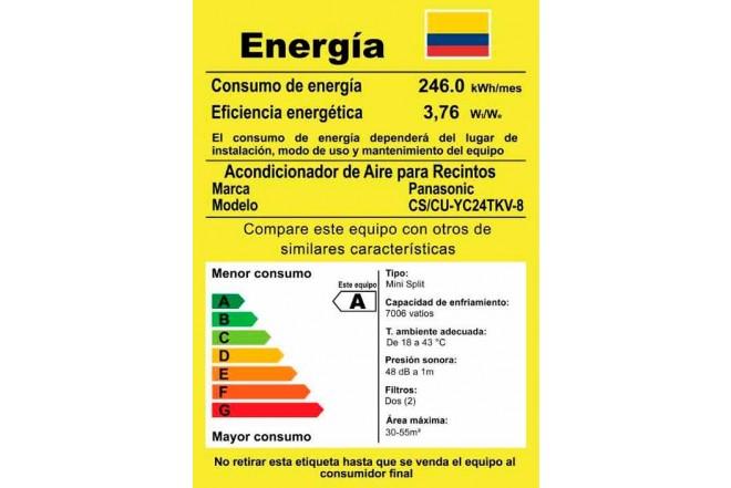 """Aire Acondicionado PANASONIC Convencional 24BTU Y24 220V""""B"""