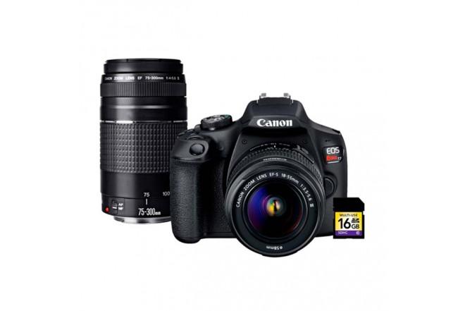 Cámara Fotográfica CANON EOS T7+Lentes 18-55DC III / 75-300  Negra4