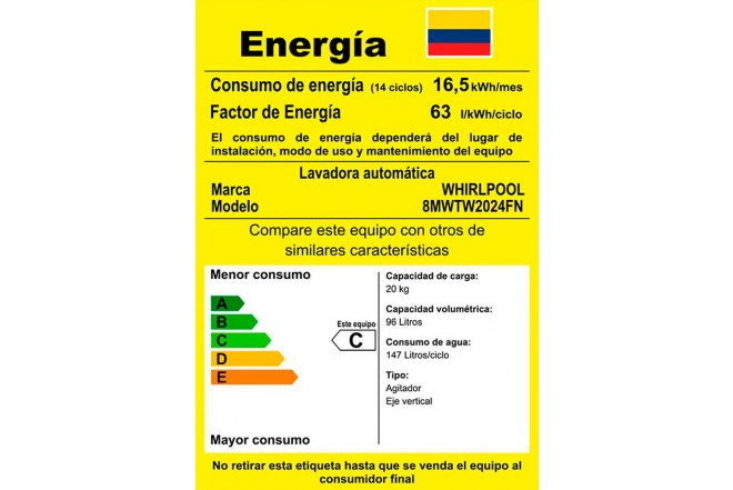 Lavadora WHIRLPOOL 20 Kg 8MWTW2024FN Blanco10