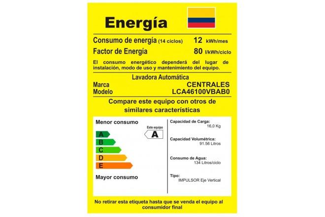 Lavadora CENTRALES digital 16kg LCA46100VBAB0 Blanco