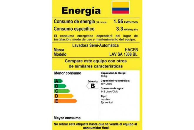 Lavadora HACEB Semi Automática13Kg D1308 Blanco6