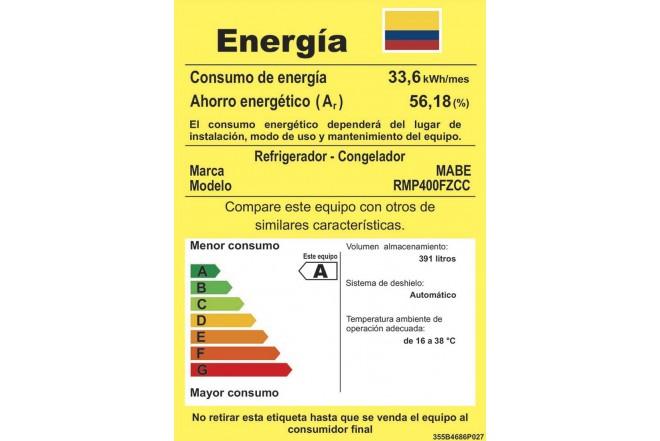 Nevera MABE 400Lt RMP400FZCC etiqueta retiq