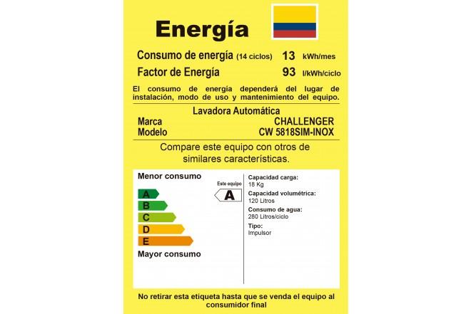 Lavadora CHALLENGER 18 Kg CW5818 Inox - Vista Tina Frontal