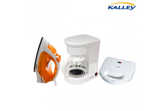 Kombo KALLEY Cafetera 100K + Sanaduchera SM101 + Plancha de ropa 100AN
