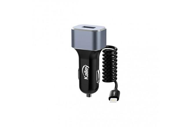 Cargador Auto KALLEY + Cable Lightning 1 Metro Negro 1
