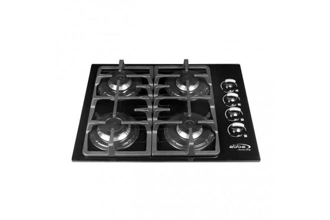 Cubierta ABBA Master Chef CG401V4D  N 4 Puestos Gas Propano Vidrio de Seguridad 60cm Negro1
