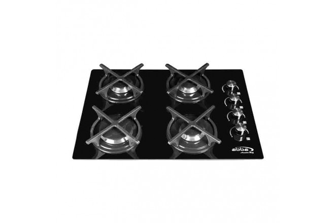 Cubierta ABBA Master Chef CG401V3CN N 4 Puestos Gas Natural Vidrio de Seguridad 60cm Negro1