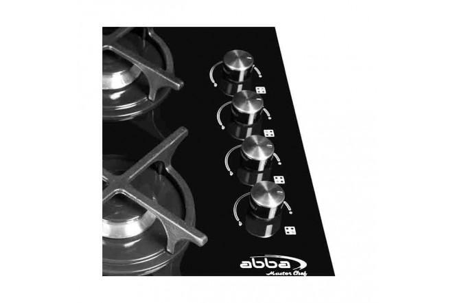 Cubierta ABBA Master Chef CG401V3CN N 4 Puestos Gas Natural Vidrio de Seguridad 60cm Negro3
