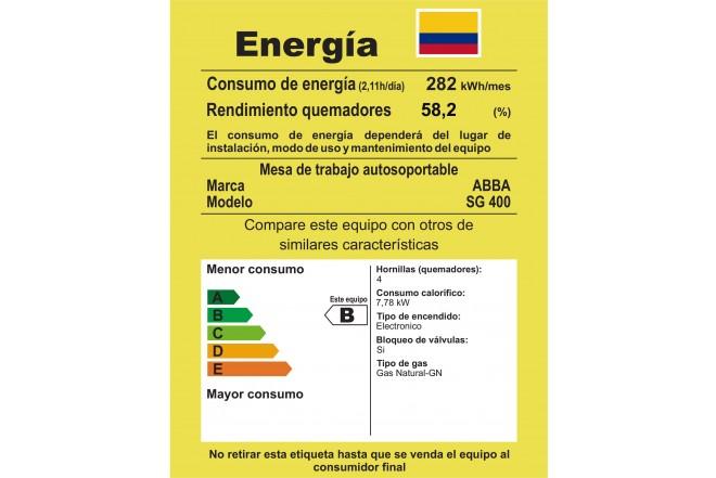 Estufa de Mesa ABBA 20 SG 400-8N N 4 Puestos - Gas