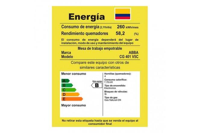 Cubierta ABBA Master Che CG401V5CN N 4 Puestos Gas Natural Vidrio de Seguridad 60cm Negro5