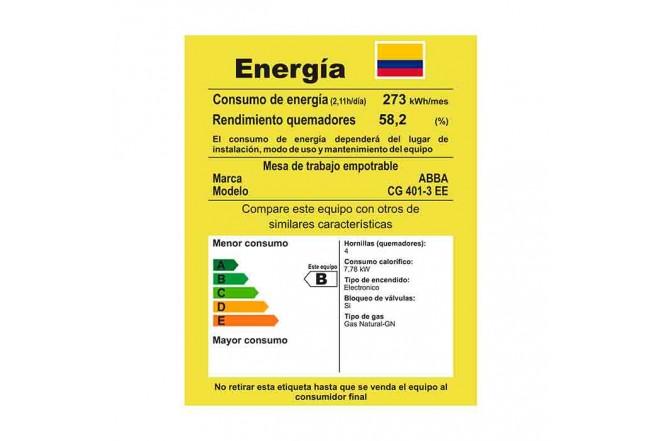 Cubierta ABBA CG4013 EE 4 Puestos Gas Natural  Encendido Electrónico 59cm Acero Inoxidable5