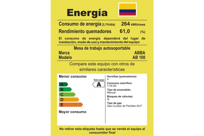 Estufa de Piso ABBA 8AB 100-6 GV51SE Color Negro