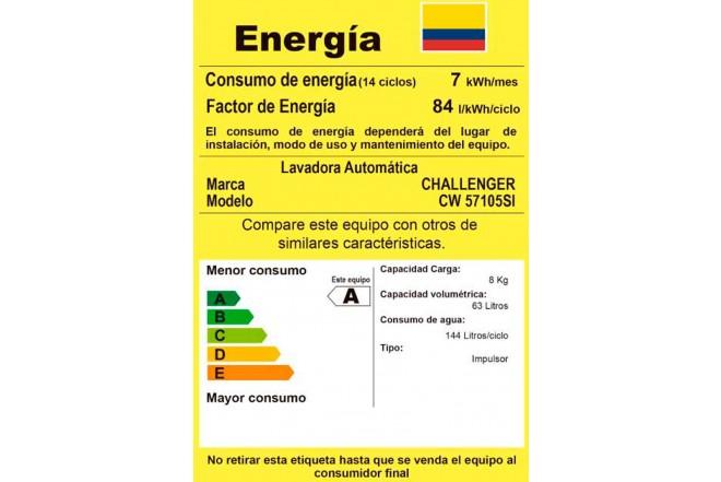 Lavadora CHALLENGER 10.5Kg CW57105 Gris6
