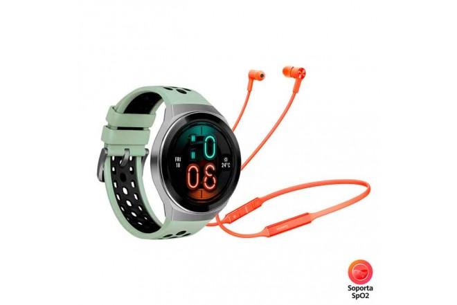 Reloj HUAWEI GT2e 46MM Verde + Audífono Freelace 1