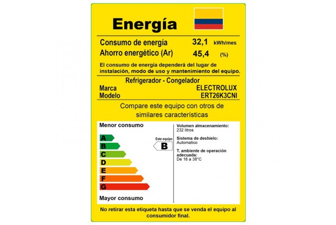 Nevera ELECTROLUX 264 Litros ERT26K3CNI