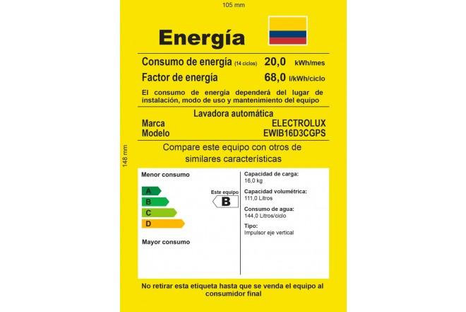 Lavadora ELECTROLUX 16Kg EWIB16D3CGS GRN