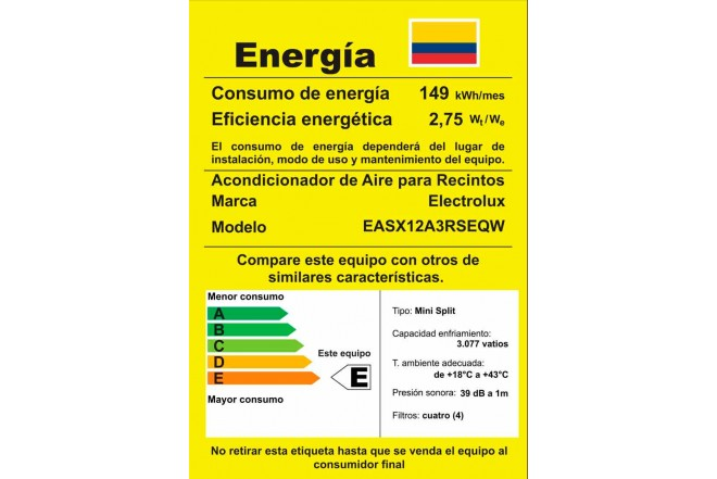 Aire Acondicionado ELECTROLUX Convencional 12000BTU 110V Blanco3