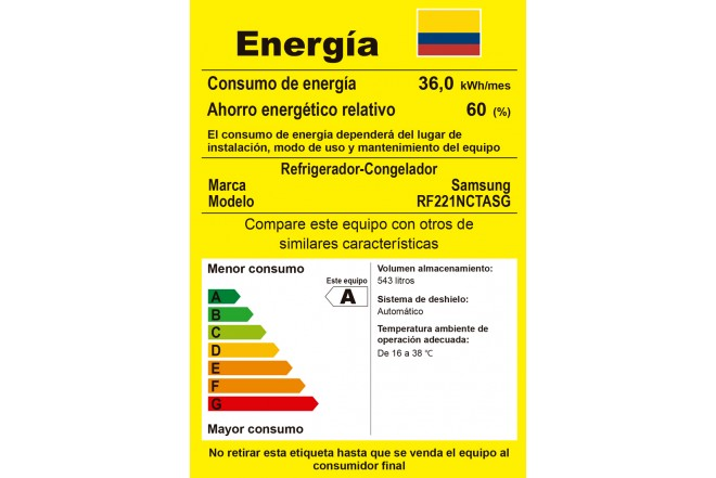 Nevecón SAMSUNG 543Lt RF221NCTAS etiqueta RETIQ