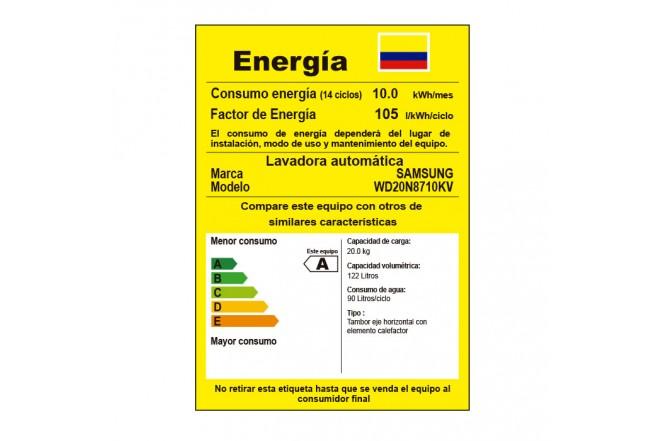 Lavadora/Secadora SAMSUNG 20kg/123kg WD20N8710KP/CO Gris 14