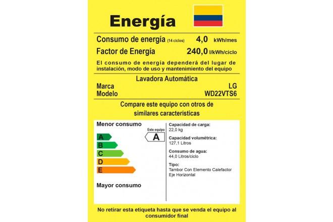 Lavadora / Secadora LG CF 22 Kg WD22VTS6 Inox2