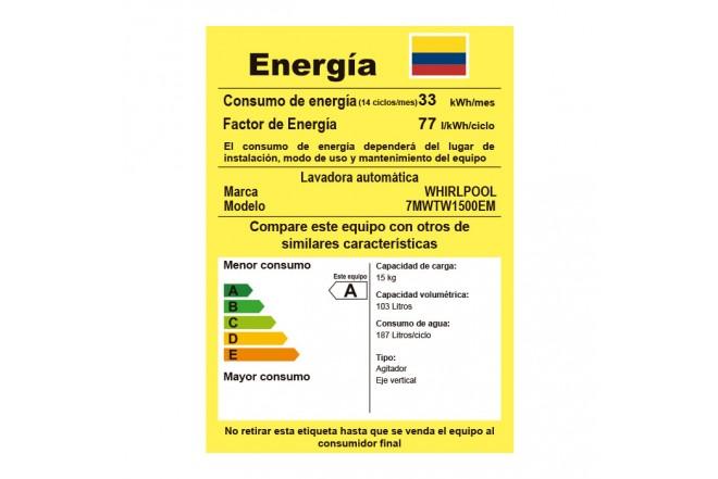Lavadora WHIRLPOOL 15Kg 7MWTW1500EM Blanco6