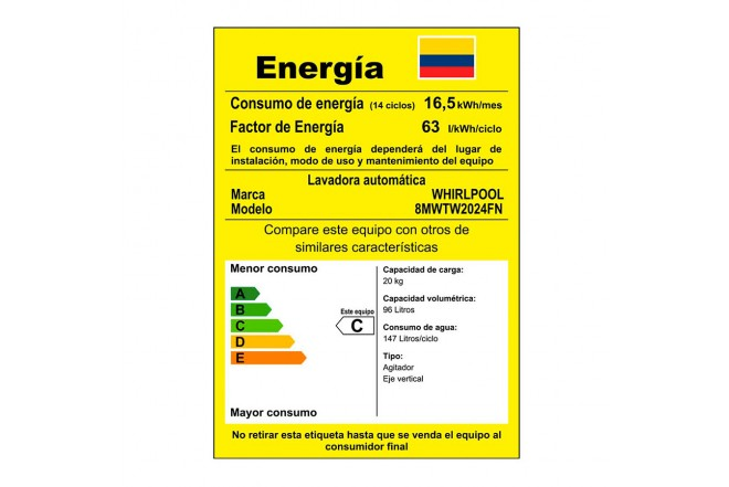 Lavadora WHIRLPOOL 20 Kg 8MWTW2024FN Blanco