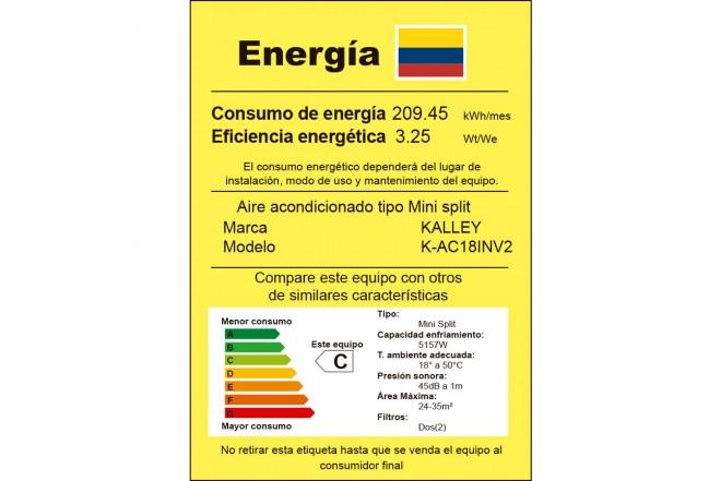 Aire Acondicionado K-AC18INV2 etiqueta RETIQ