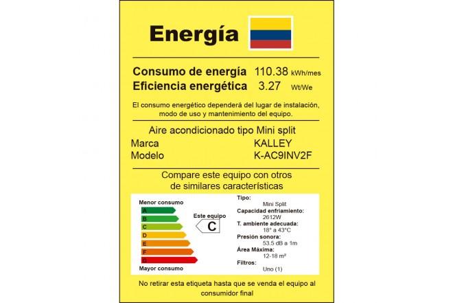 KALLEY 9BTU K-AC9INV2F etiqueta RETIQ