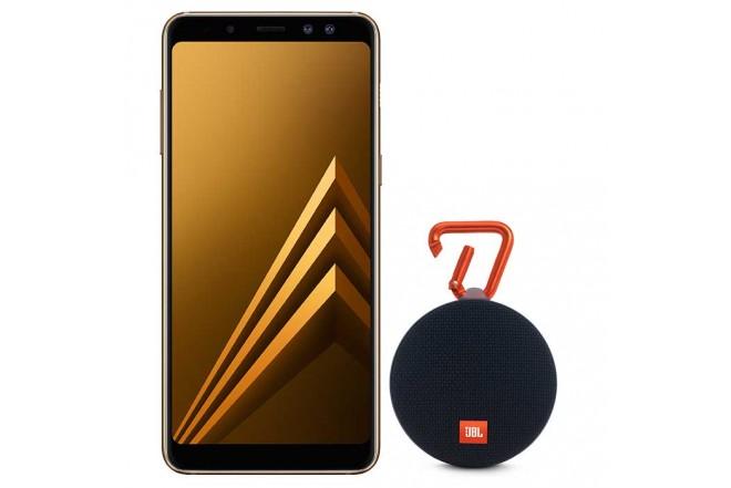 Celular Libre SAMSUNG A8 Plus DS 4G Dorado + Parlante JBL Clip 2