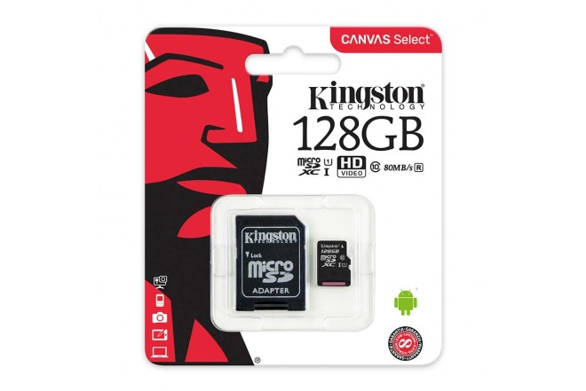 Memoria Micro SD KINGSTON 128GB + Adaptador Cl10