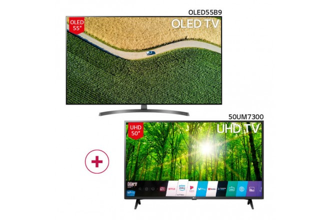 "Combo TV LG 55"" Pulgadas 139 cm 55B9 OLED 4K-UHD Plano Smart TV + TV LG 50"" Pulgadas 126 cm 50UM7300 4K-UHD Plano Smart TV 1"