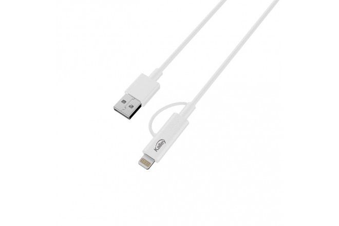 Cable KALLEY USB/Lightning 2 en1 Blanco