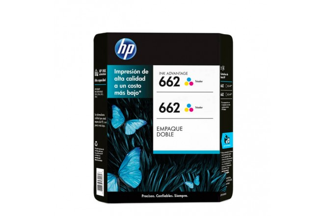 Cartucho de tinta HP 662 Tricolor Dual Pack