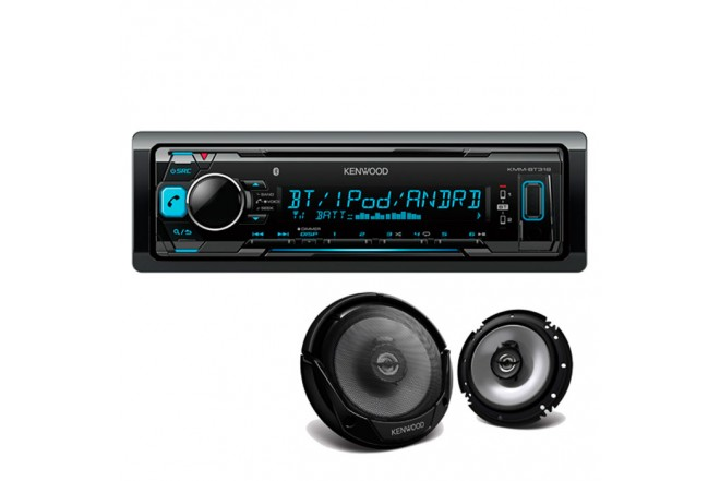 Combo Radio KENWOOD KMM-BT318 + Parlantes KFC-1665S