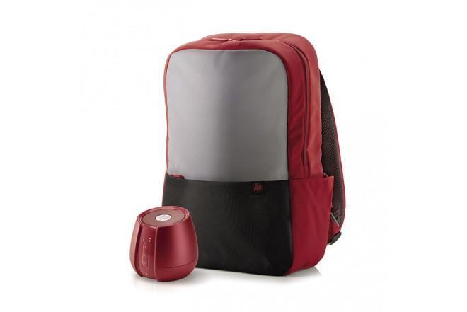 Kit Regalo Viaje HP Morral + Parlante Rojo