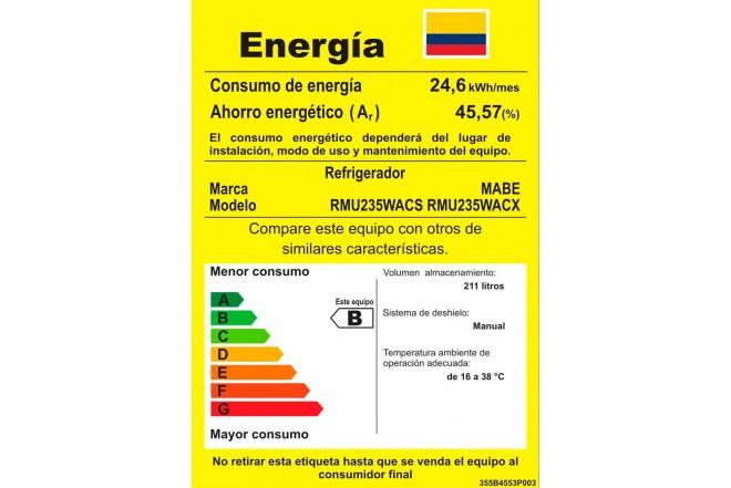 Nevera MABE FR 235Lt RMU235WACX Gris