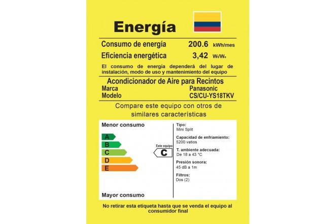 Aire Acondicionado PANASONIC YS 18000 BTU Inverter 220V Blanco