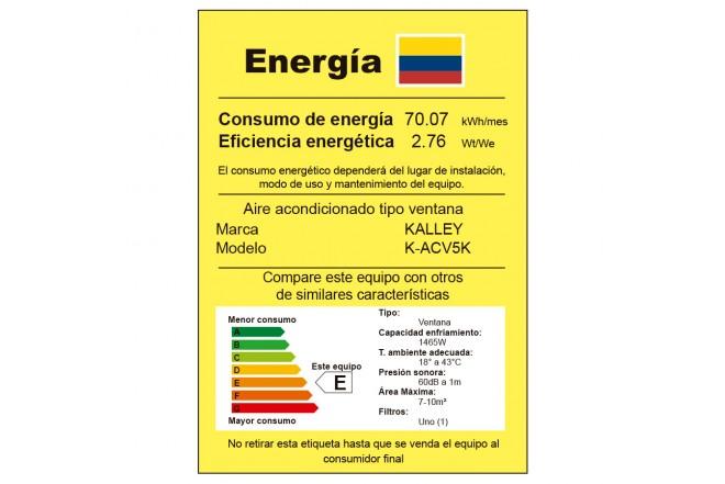 Aire Acondicionado KALLEY Ventana 5BTU V5K 110V Etiqueta RETIQ