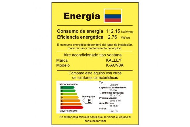 Aire Acondicionado KALLEY Ventana 8BTU V8K 110V etiqueta RETIQ