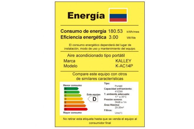 Aire Acondicionado KALLEY Portátil K-AC14P etiqueta RETIQ
