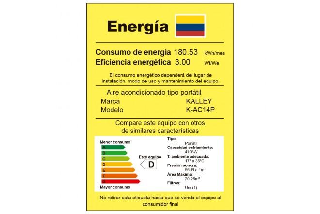 Aire Acondicionado KALLEY Portátil 14000 BTU K14P02 Etiqueta RETIQ
