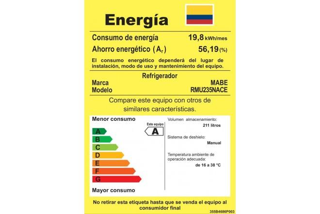 Nevera MABE 235Lt Frost RMU235NACE Gris