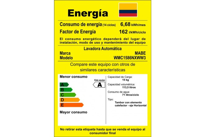 Lavadora MABE CF 15 Kg WMC1586NXW Blanca