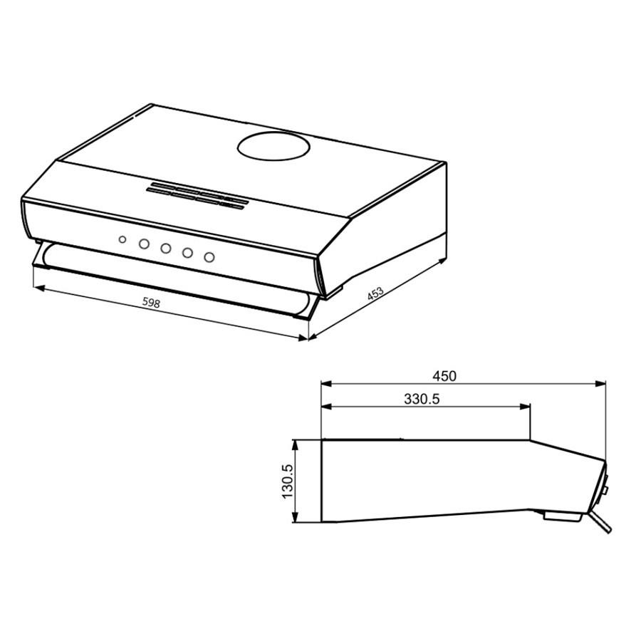 Campana de empotrar de 60cm pared negro mabe cm6042n ktronix tienda online - Campana extractora medidas ...