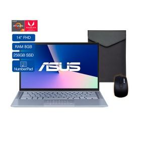 """Portátil ASUS Zenbook 14 UM431DA AMD Ryzen 5 14"""" Pulgadas 8GB RAM Disco Sólido 256 GB Azul"""