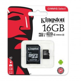Memoria Micro SD KINGSTON 16GB + Adaptador Cl10