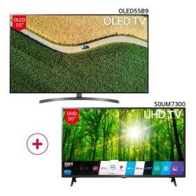 "Combo TV LG 55"" Pulgadas 139 cm 55B9 OLED 4K-UHD Plano Smart TV + TV LG 50"" Pulgadas 126 cm 50UM7300 4K-UHD Plano Smart TV"