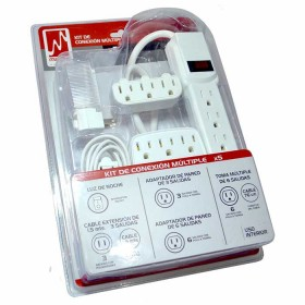 Kit Toma 6 Salidas + Cable Ext 1.5 Mts + Adapt de Pared 3 Salidas + Adapt de Pared 6 Salidas + luz de noche